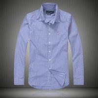 Explosion models, men's lapel long-sleeved shirt, 100% cotton, good quality, low price, free shipping, fashion, plaid shirt