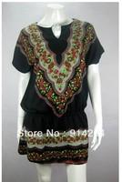 Vintage BOHO DROP WAIST DRESS Long top Tunic BLACK S WF0264   /free shipping