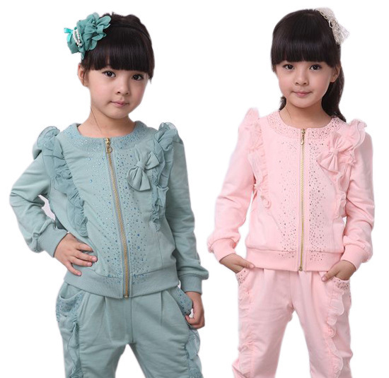 110-160 for 4-15T 2013 Spring Korean Girls Sets lotus leaf lace girls suits good quality zipper coats&pants C0136(China (Mainland))