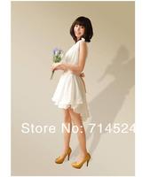 New Arrive 3pcs in 1, Fashiong girl chiffon V neck  Bridesmaid white Maxi Dress ,7Colors,Free Size