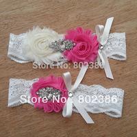 Ivory HotPink Bridal Garter Set Wedding Garter Crystal Rhinestone on a IVORY Lace