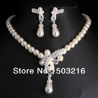 Free Shipping High Quality Clear Crystal Rhodium Plated Pearl Necklace Earrings Jewelry Set