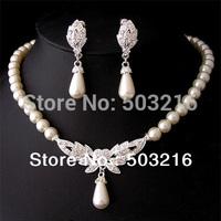 High Quality Austrian Crystal Rhodium Plated Wholesale Wedding Bridal Pearl Jewelry Set