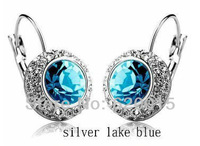 Free shipping Fashion small drum crystal clip earrings Kate Middleton same style earrings AE007