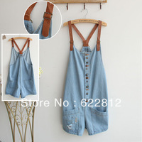 Free shipping 2013 new arrive Nostalgic Distresse jumpsuit fashion washed denim overalls buttons Braces Rompers Overalls shorts