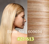 """mix color #27/613 18"""" 20"""" 100g/pc Indian Remy Human Hair weaves Weft Extensions STOCK"""