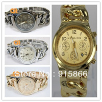 2013 korsWATCH Luxury Brand Bracelet All Stainless Steel Chain-Link Watches ladies' Janpan Quartz  Watches Men Women wristwatch