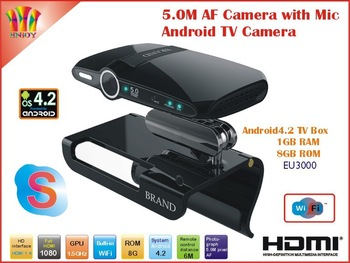 New! EU3000 5.0MP and Mic Android TV camera HDMI 1080P RAM 1GB ROM 8GB android 4.2 skype Google Android TV box HD22