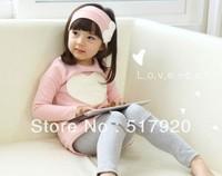 new models Korean Autumn long-sleeved T-shirt + leggings girls infant set child suit big love pink