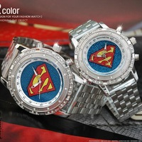 Alibaba express Superman Pattern Couple Watch Fahsion36 star Diamond flag Quartz watch Stainless steel Men's Watch OTP quality