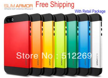 SLIM ARMOR SPIGEN SGP Case for iPhone 5 10pcs/lot + Fast free Shipping