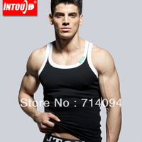 Free shipping new word men's undershirt round neck sleeveless rib cotton influx of men cultivating base