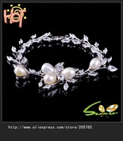 2014 New design bracelete pearl  lady's 18 KT white Gold Filled Bracelets 10 pcs Free shipping