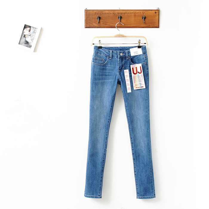Newest Free shipping L6002 new blue stretch Slim casual women's jeans(China (Mainland))