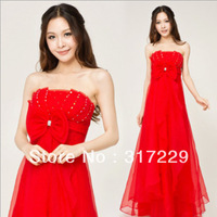 New Fashion Woman Red Sexy Bra Bride Toast Dress Long Charming Costumes Evening Dress FZ172