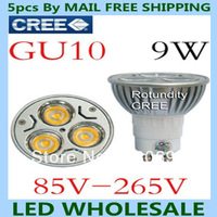 Free shipping 5pcs/lot Dimmable GU10 E27 E14 GU5.3 MR16 B22 Rotundity Light 9W 3x3W High power Spotlight LED Bulb Lamp Lighting