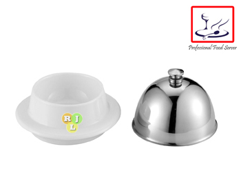 Ceramic Butter Dish with High Quality 304 Stainless Steel Cover, Butter Plate, Serving Plate