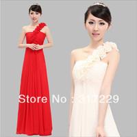 New Fashion Woman Romantic Lace Flowers Bride Oblique Slim Toast Long Evening Dress FZ173