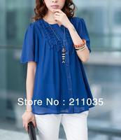 Hot Sale Women's large size loose round neck wood ear T-shirts, V- neck chiffon shirt ,R93,DY F539