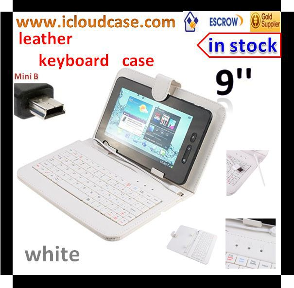 Brand New Colorful Leather Protective Mini USB Keyboard Carry Case Cover 9'' Inch Android Tablet PC 50pcs/lot(China (Mainland))