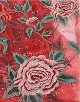 Big red peony flower mesh yarn embroidery embroidered sequins lace fabric cheongsam dress DIY cloth.