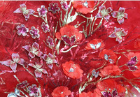 Big Red Three-dimensional Flowers Sequins Best-embroidery Gauze Wedding Clothes Cheongsam DIY Fabric Lace.