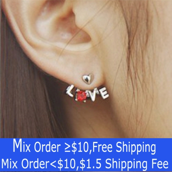 Korea Acessories Wholesale Chic LOVE Set Auger Stud Earrings Free Shipping! ER1001(China (Mainland))