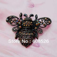 free shipping vintage red bronze plated bee rhinestone brooch with pin, wholesale and retail, item: BH7036
