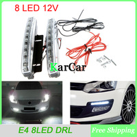 8 LED Super Bright White DRL Car Daytime Running Light Head Lamp Universal Waterproof Day Lights E4 with Box