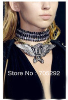 Free Shipping! Vintage Crystal Rhinestone Hawk Eagle Wing Statement Pendant Choker Necklace New