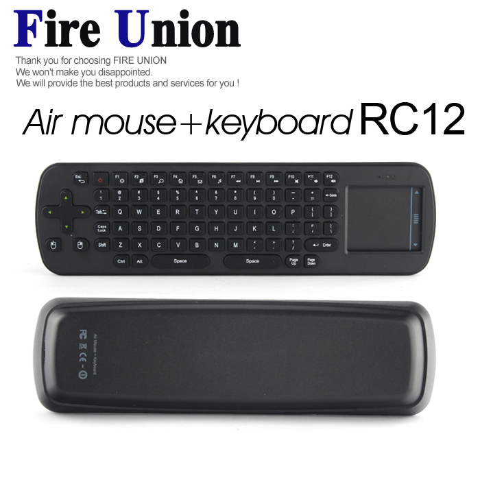 5PCS Free Shipping New Measy RC12 Air Mouse+ Keyboard Smart Wireless 2.4G Touchpad Handheld Keyboard Combo(Hong Kong)