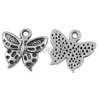 Tibetan Silver Pendants,  Lead Free and Cadmium Free,  Butterfly,  Silver Color,  about 16.5mm long,  15mm wide,  2mm thick