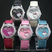 Wholesale 20 pcs/lot Hello Kitty Crystal Child Watch,Crystal Heart Watch