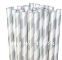 Silver striped drinking paper straws stripe party straws lovely wedding christmas valentine baby shower favors gifts supplies
