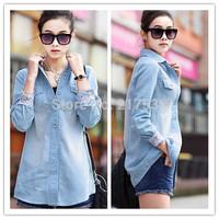Hot 1pc/lot Fashion Denim Fabric T-shirts Light Blue/Deep Blue Long Sleeve Casual Women Shirt S/M/L/XL Free Shipping dp651409