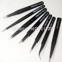 Free Shipping Wholesale High quality 7/pcs BGA ESD Precision Tweezer Set Antistatic tweezers (6 sizes) stainless Tweezers tools