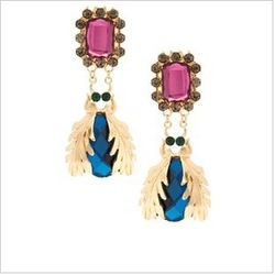 Min.Order is $10(Mixed order) Sweet Punk Style Pink Blue Crystal Gem Insect JC Statement Jewelry Chandelier long Earrings Gold(China (Mainland))
