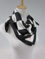 FREE SHIPPING!!! spring silk twill scarf neckerchief shawls with white and black checked design 100% silk satin (SF008)