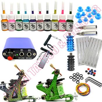 Classic Tattoo Kit 2 Machines Gun 10 Ink Pigment Power Needles Supply Hot