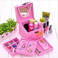 L12cm*W12cm*H12cm Small Affirmative Pink Vintage European Princess Three Layer Jewelry Sets Cosmetics Storage Box/Case Wholesale