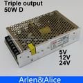 T 50W D Triple output 5V 12V 24V Switching power supply smps AC to DC(China (Mainland))