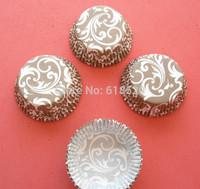 Free Shipping 200pcs Grey Damask Design Baking paper Cups Cake Boxes Cupcake Liners Baking Supplies