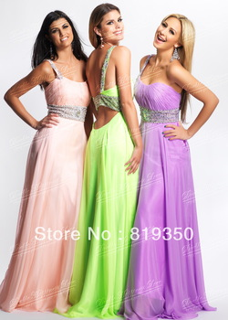 Free Shipping Sexy One-Shoulder Beaded Waist Band And Straps Cut Out Back Long Chiffon Prom Gown Evening Dress 2013 CH2270