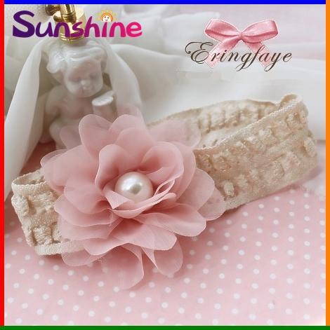 Sunshine store #2B2172 10 pcs/lot (pink) NInfant Toddler girls baby Headband chiffon flower pearl elastic linen Vintage CPAM(China (Mainland))