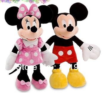 Hot Sale Free Shipping 2pcs/lot Lovely Mickey Mouse And Minnie Stuffed Animal plush Toys Children's Gift,30cm