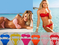 2013 New Fashion High Quality Women Swimwear Sexy Bikini Set With Breast Pad 9 Colours [A01000151]
