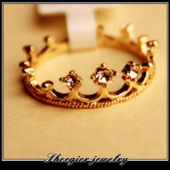 1314 jewelry wholesales Ring Fashion Gold Flash Drill Crown Ring Jewelry Shiny Elegant Beauty Women Girls Gift Jewelry 2.3g