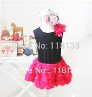 Wholesale - 2013new Princess Girls Korean dress three-dimensional pass flower dress children girl dress