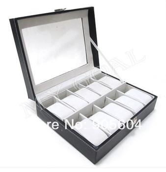 10 Grids Leather Jewelry Watch Display Box Storage Holder Organizer Case Holder