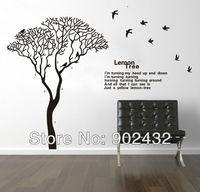 New Design Large size Vinyl Black Lemon Tree Birds Wall Quote Decals Living Room Home Decor Stickers 230*170cm